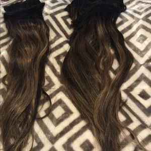 Dark brown to blonde ombré clip  extensions